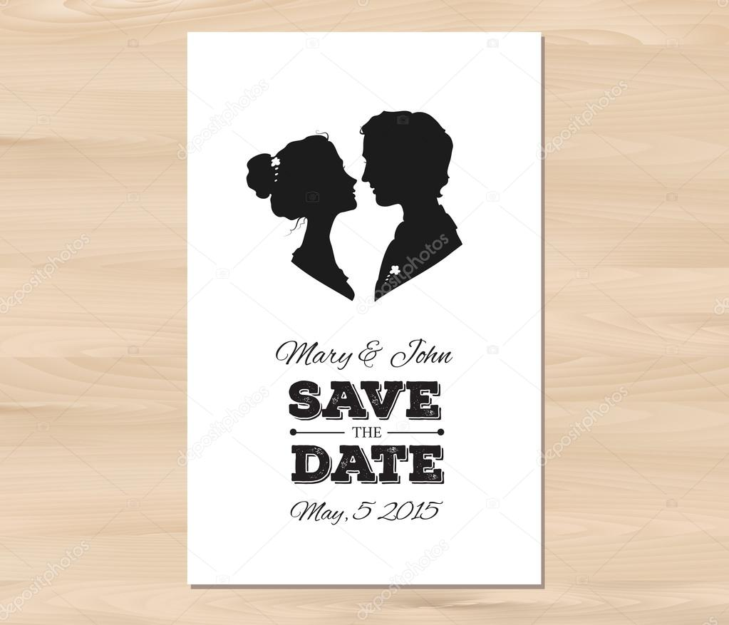 Vector save the date wedding invitation with profile silhouettes ...