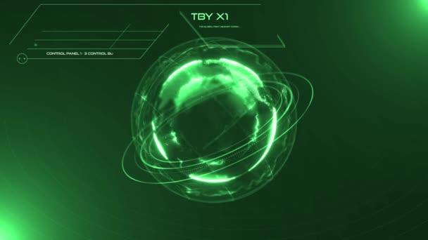 3D grüne digitale HUD Earth Globe Benutzeroberfläche. Militär- und Raumfahrttechnologiekonzept. Futuristische Umwelt und wirtschaftlich. Planetenrotation. Scannen der globalen Landkarte. Wissenschaftlich-technische Datenanalyse