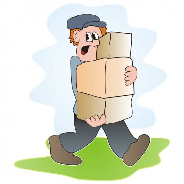 Man carries boxes, funny vector illustration icon