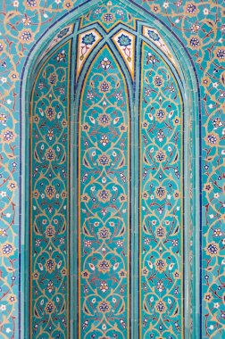 Turquoise mosaic tiles in mosque, Muscat, Oman