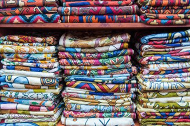 Display of colorful fabrics, Muscat, Oman