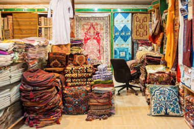 Vintage textiles and carpets shops, Mutrah Souk, Muscat, Oman