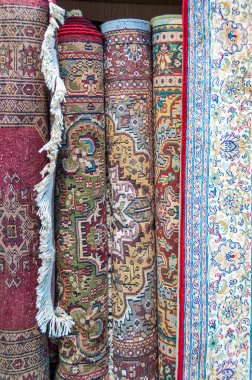 Hand knotted carpets for sale in Mutrah Souk, in Mutrah, Muscat, Oman, Middle East