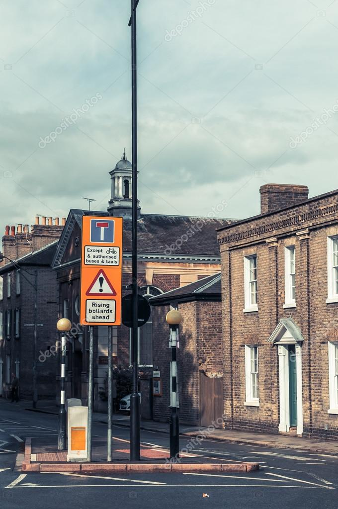 Road warning retractable electric Bollards ahead, Cambridge, UK