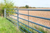 Seitenansicht geschlossenes Metalltor für Ackerland in England