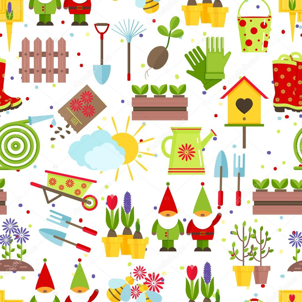 Garden tools seamless background