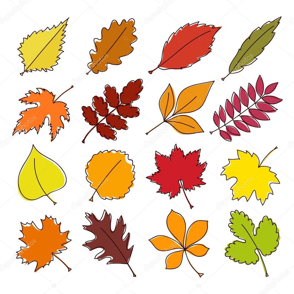 Renkli Sonbahar Yaprakları Kümesi Vektör çizim Stok Vektör