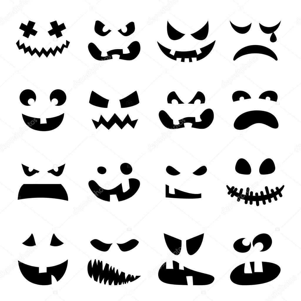 Facce Zucche Di Halloween.Insieme Di Facce Spaventoso Della Zucca Di Halloween Vettoriali