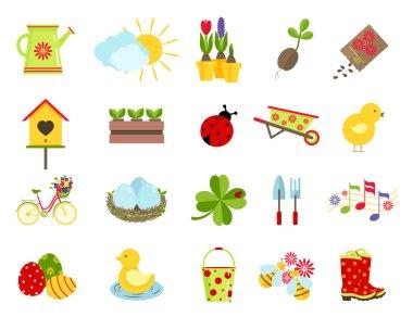 spring icons. flat style set