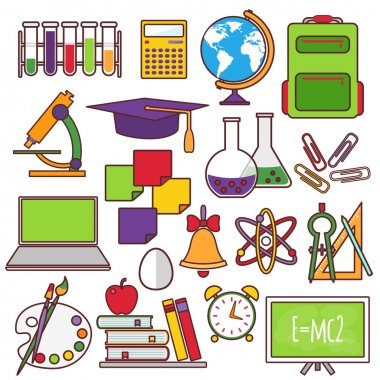 A set of school and education icons