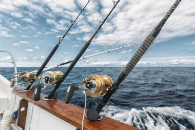 Fishing rods on a tuna fishing boat