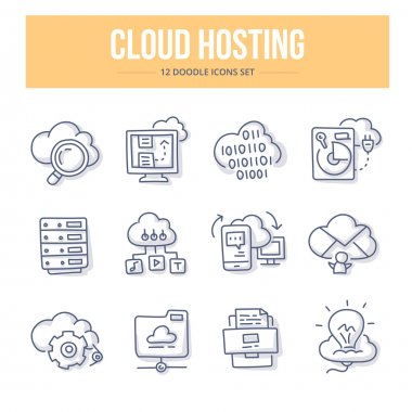 Cloud Hosting Doodle Icons