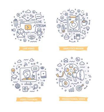Video Marketing Doodle Illustrations