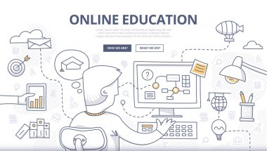 Doodle design style concept of online education, distance learning, retraining. Modern concepts for web banners, online tutorials, printed and promotional materials stock vector