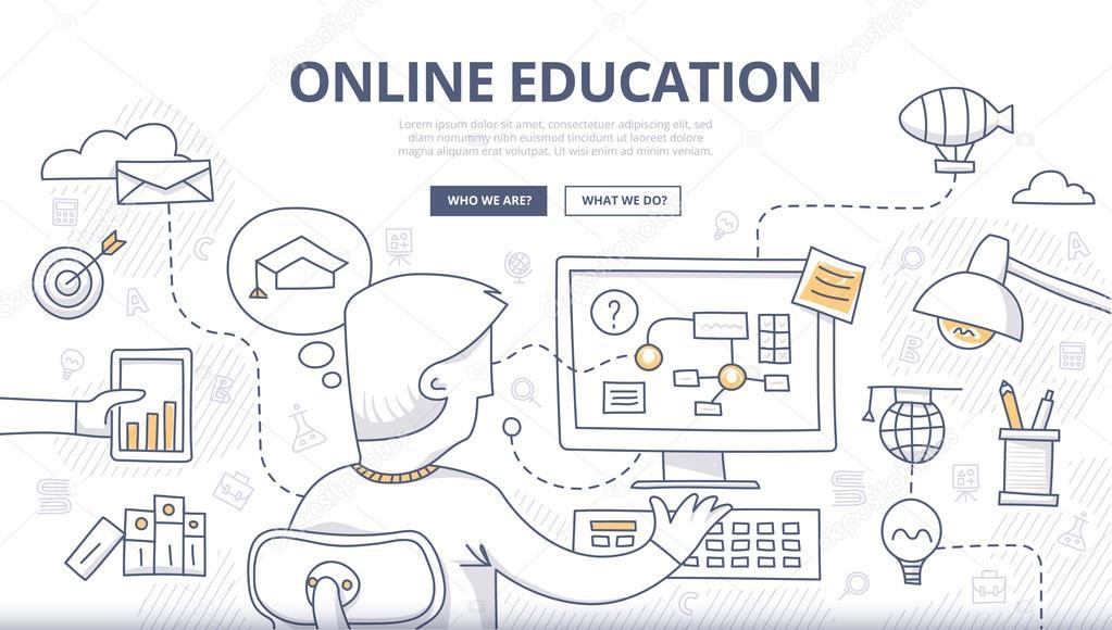 Online Education Doodle Concept