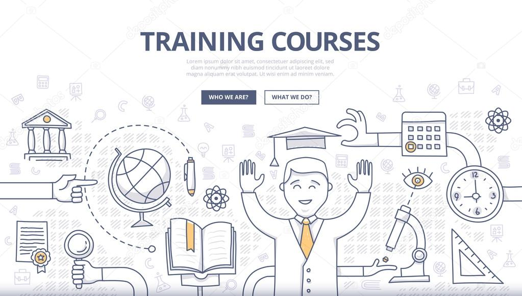 Training Courses and Education Doodle Concept