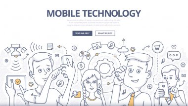 Mobile Technology Doodle Concept