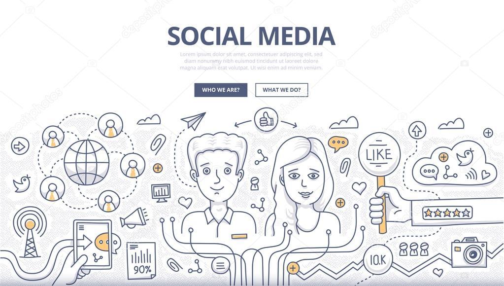 Social Media Doodle Concept
