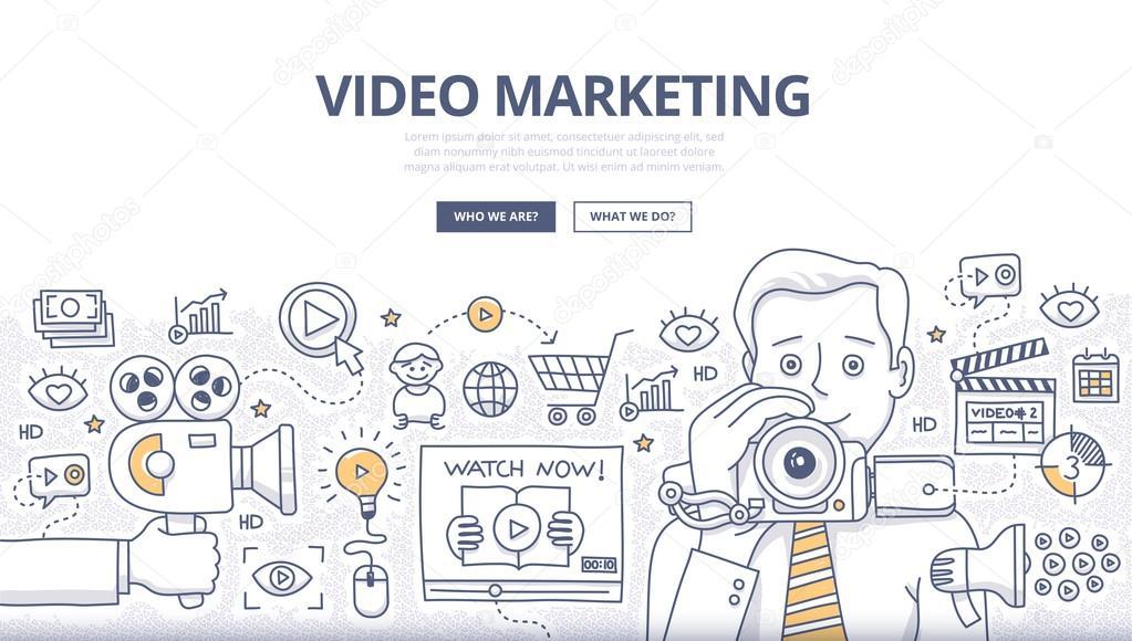 Video Marketing Doodle Concept