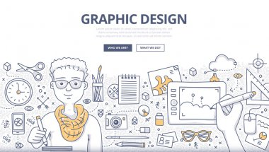 Doodle design style concept of graphic designer at work, surrounded with tools and equipment. Designer uses inspiration and imagination to create things. Modern line style illustration for web banners, hero images, printed materials stock vector