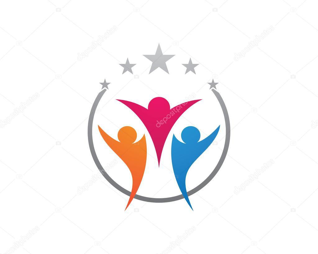 Plantilla de logotipo de cuidado comunitario — Vector de stock ...