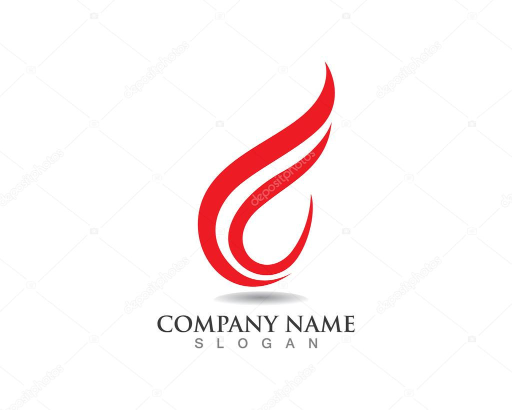 Fire F Logo Red Stock Vector