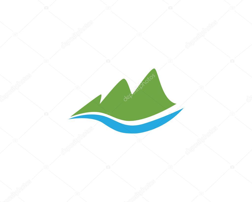 Paisaje de montaña logotipo y plantilla — Archivo Imágenes ...