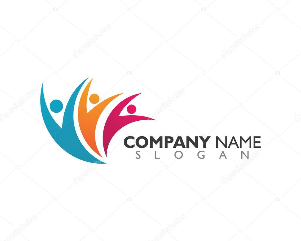 Vector de plantilla de logotipo cuidado comunidad — Archivo Imágenes ...