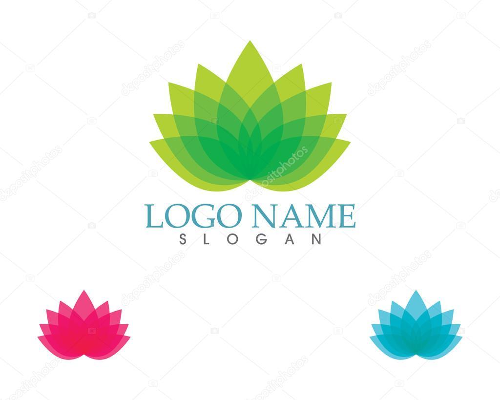 Lotus Bloem Groen Logo En Symbool Stockvector Elaelo 122713618
