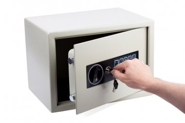 Opening the electronic safe.