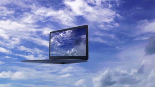 Abstraktní 3d animací s koncepcí výpočetní oblak