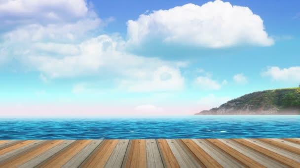 Deszka a mólón, a tengerpart tengerparton. Gyorsított a felhők.