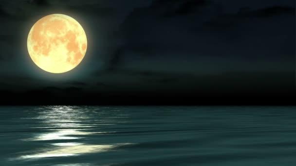 Night moon and moonbeam in sea.