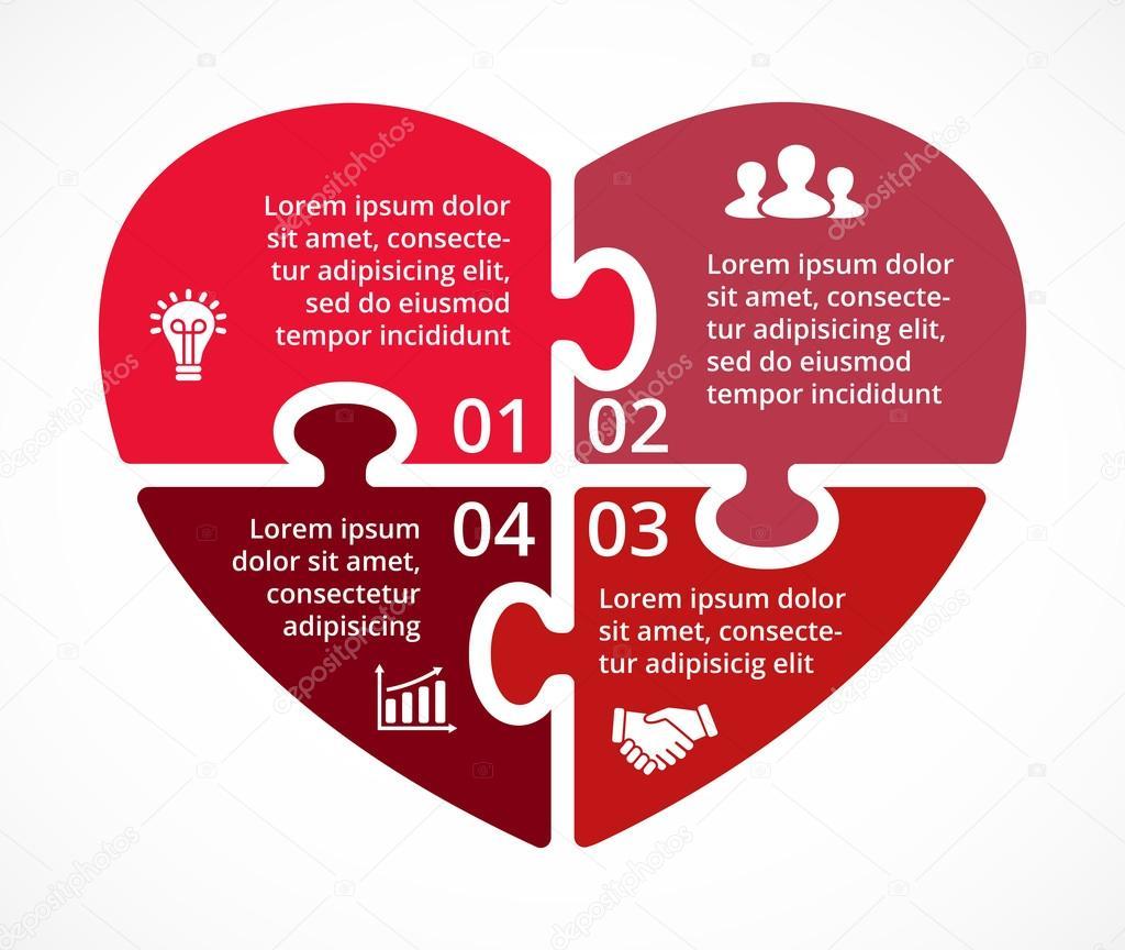 Vector corazón círculo puzzle infografía. Plantilla de diagrama de ...