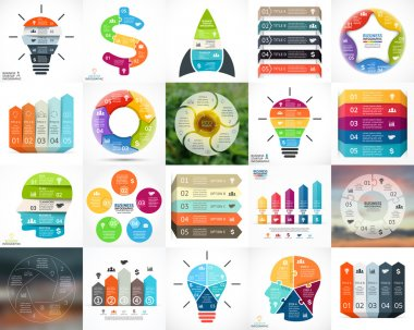 Vector circle infographics. Business diagrams, arrows graphs, blur linear presentations, idea cycle charts. Data options, parts, 5 steps. Bulb, brain, plus, eco, heart, lines, stairs.