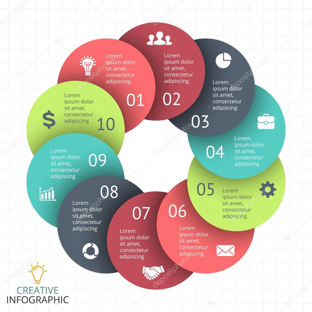 Process cycling arrow by arrow royalty free stock images image - Circle Arrows Diagram For Graph Infographic Presentation With 10 Steps Parts Options Vector By Theseamuss