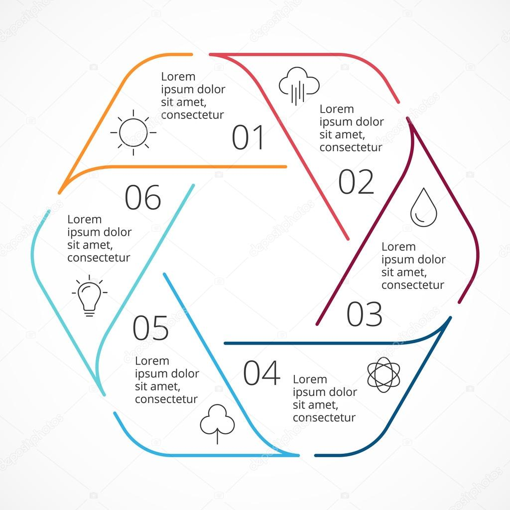 Vector circle linear arrows infographic hexagon diagram graph circle arrows diagram for graph infographic presentation with 6 steps parts options vector by theseamuss ccuart Image collections