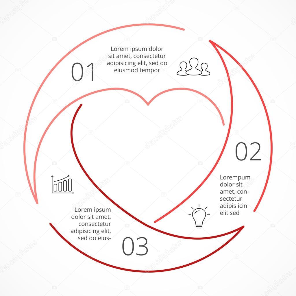 Vector corazón círculo infografía lineal. Plantilla de diagrama de ...