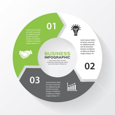 Vector circle arrows for infographic. Template for diagram, graph, presentation and chart. Business concept with 3 options, parts, steps or processes. Abstract background.