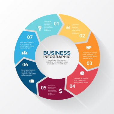 Vector circle arrows for infographic. Template for diagram, graph, presentation and chart. Business concept with 7 options, parts, steps or processes. Abstract background.