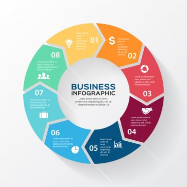 Vector circle arrows for infographic. Template for diagram, graph, presentation and chart. Business concept with 8 options, parts, steps or processes. Abstract background.
