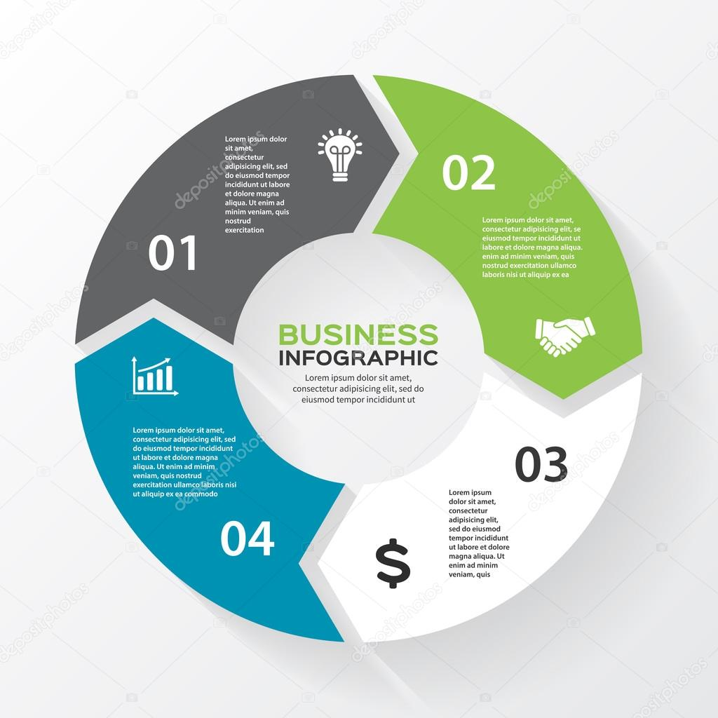 Vector circle arrows for infographic. Template for diagram, graph, presentation and chart. Business concept with 4 options, parts, steps or processes. Abstract background.