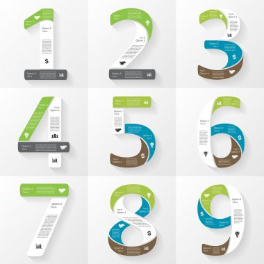 Vector font infographic, diagram, presentation. Numbers 1, 2, 3, 4, 5, 6, 7, 8, 9. Business concept with options, parts, steps or processes.