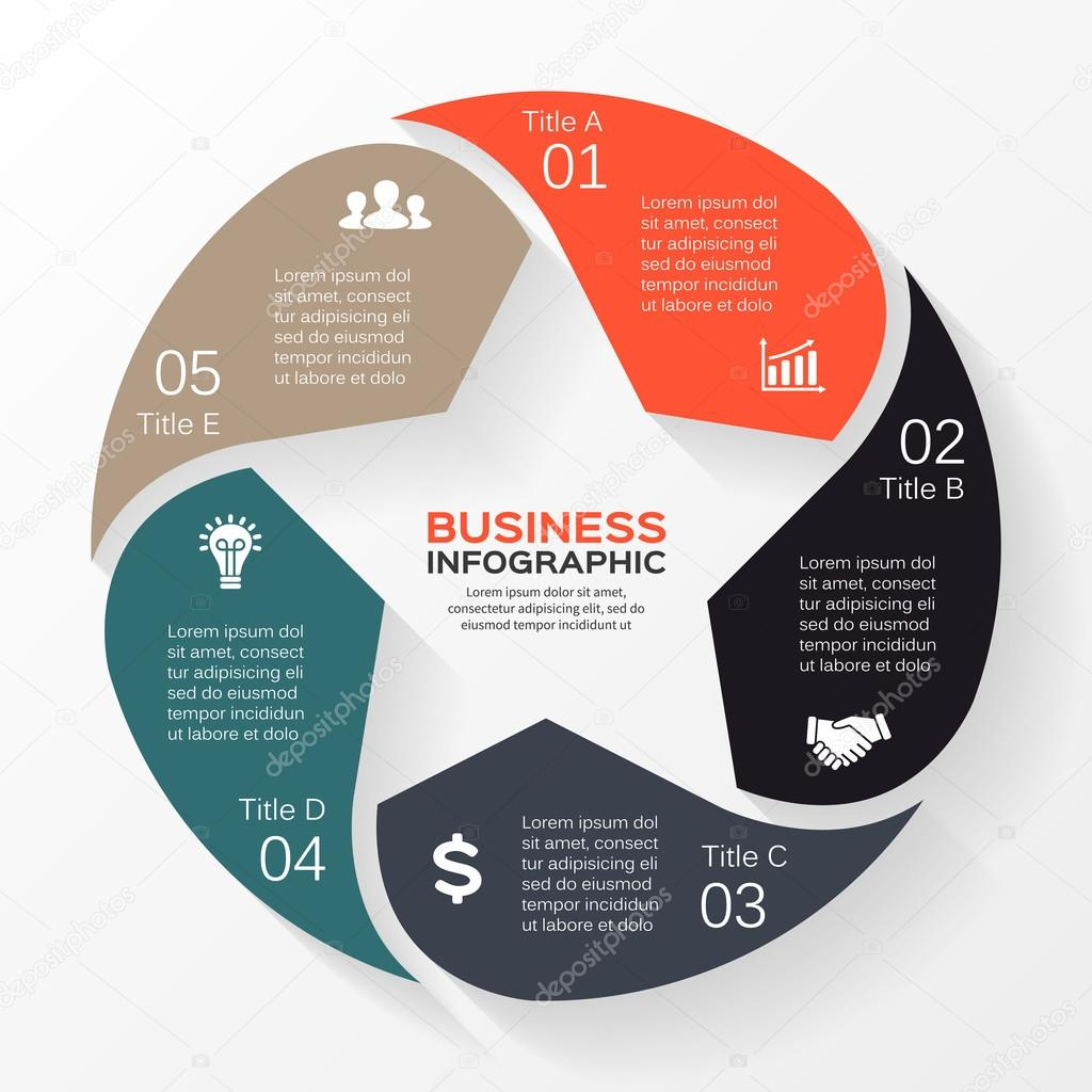 Vector circle star infographic. Template for diagram, graph, presentation and chart. Business concept with 5 options, parts, steps or processes. Abstract background.