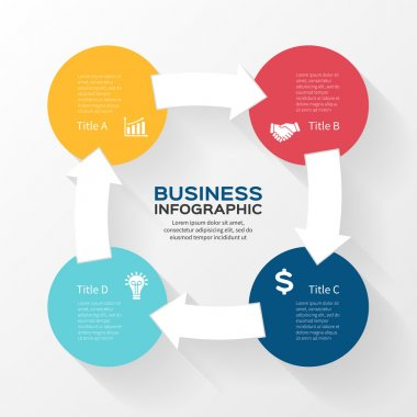 Vector circle arrows infographic. Template for diagram, graph, presentation and chart. Business concept with 4 options, parts, steps or processes. Abstract background.