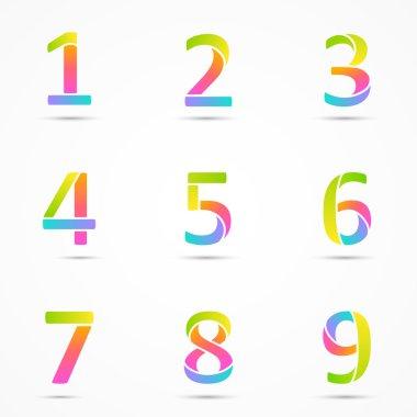 Logo numbers 1, 2, 3, 4, 5, 6, 7, 8, 9 company vector design templates set.