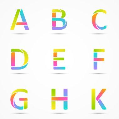 Logo letters a, b, c, d, e, f, g, h, k company vector design templates set.