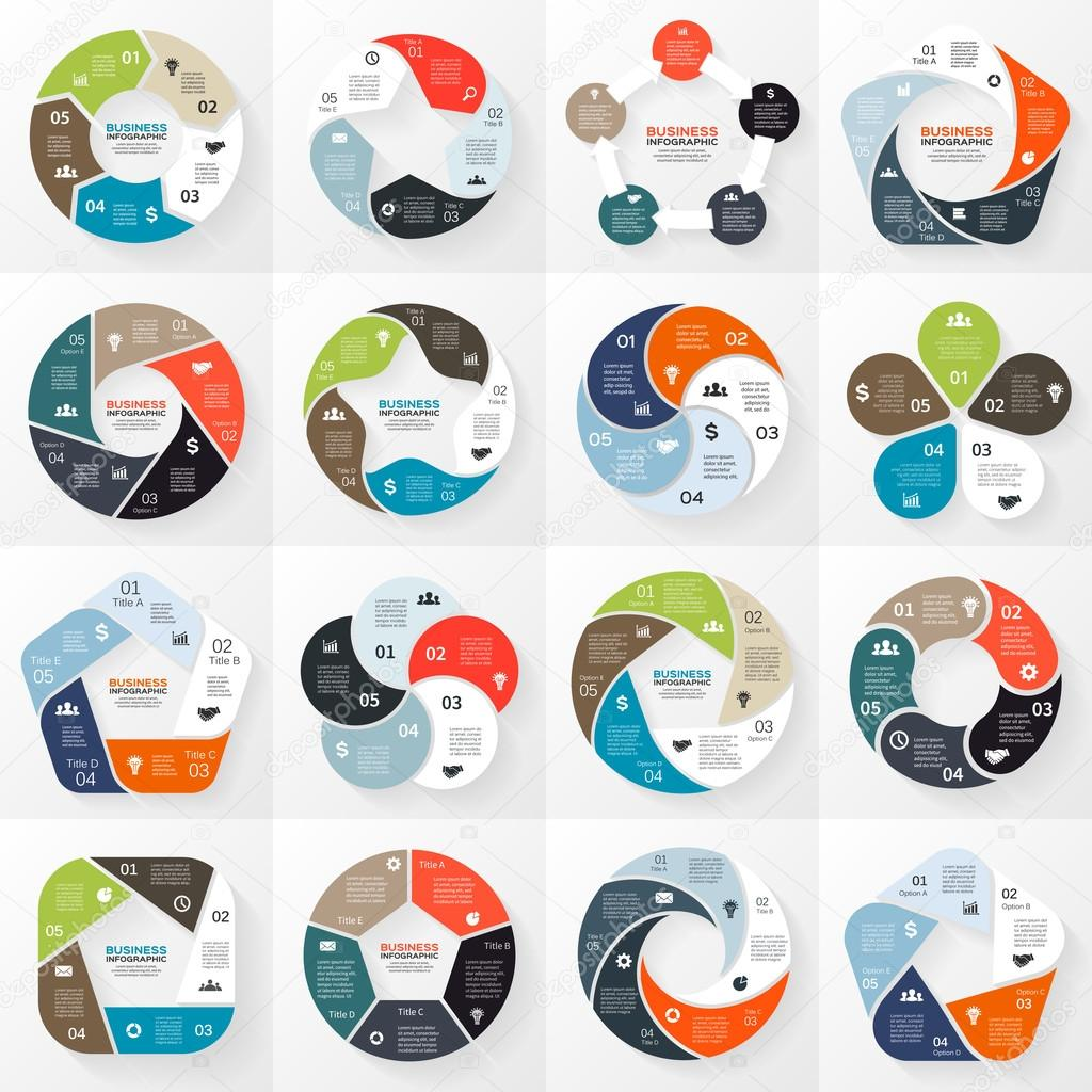 Vector circle arrows ribbons infographics set. Template for diagram, graph, presentation and chart. Business concept with 5 options, parts, steps or processes. Abstract background.