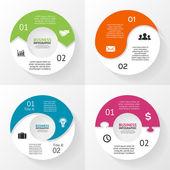 Vektorový kruh infografiky sada. Šablona diagram, graf, prezentaci a graf. Obchodní koncept s 2 možnosti, díly, kroků nebo procesy. Abstraktní pozadí