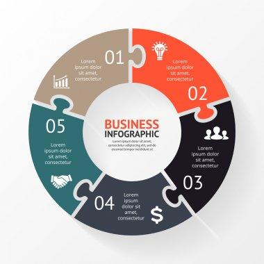 Vector circle puzzle infographic. Template for diagram, graph, presentation and chart. Business concept with 5 options, parts, steps or processes. Abstract background.